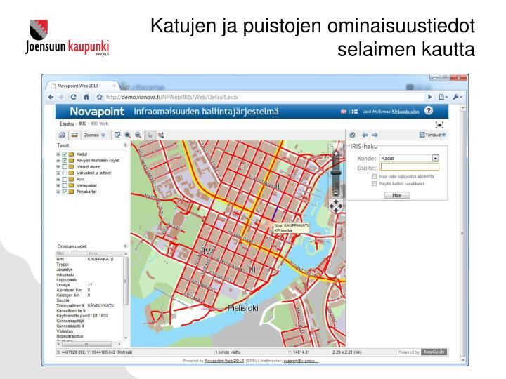 Katujen ja puistojen ominaisuustiedot selaimen kautta