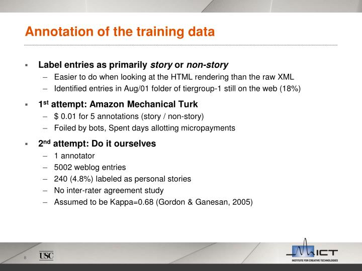 Annotation of the training data