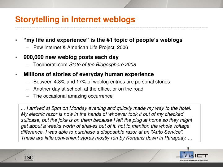 Storytelling in internet weblogs