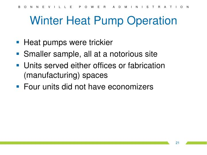Winter Heat Pump Operation