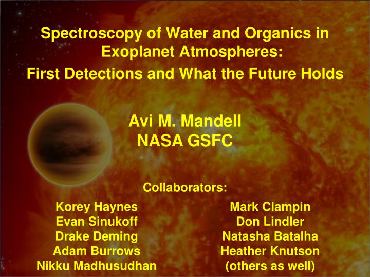 Spectroscopy of Water and Organics in