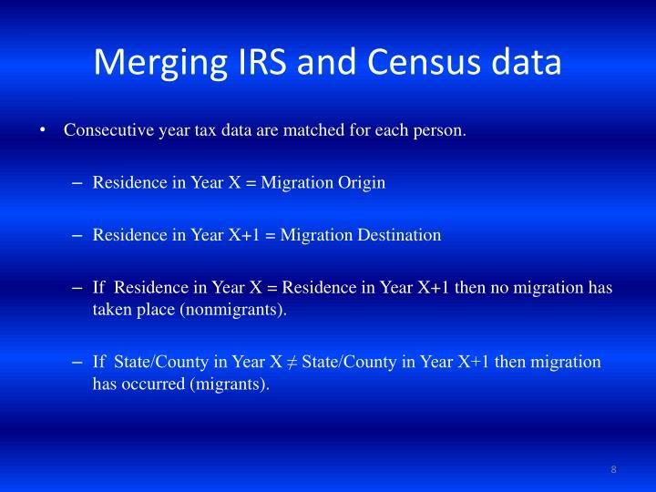 Merging IRS and Census data
