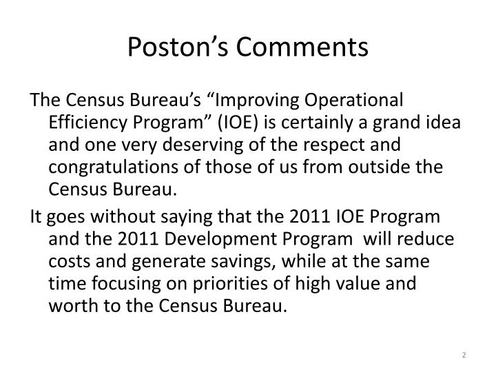 Poston's Comments