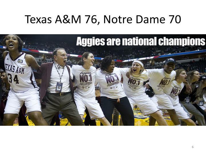 Texas A&M 76, Notre Dame 70