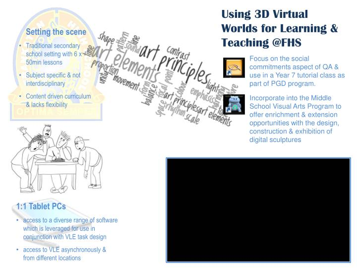 Using 3D Virtual Worlds for Learning & Teaching @FHS