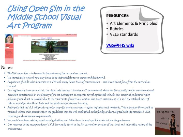 Using Open Sim in the Middle School Visual Art Program