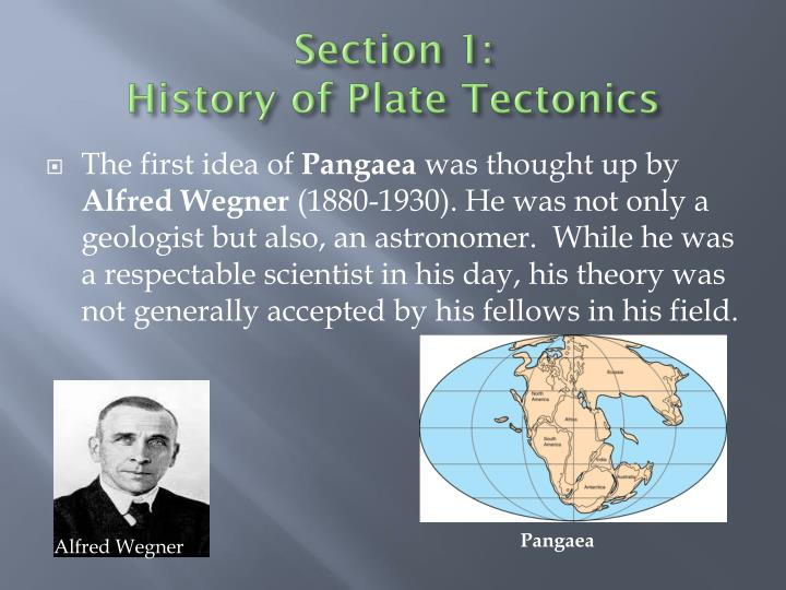 Section 1 history of plate tectonics