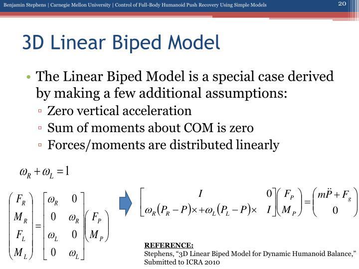 3D Linear Biped Model
