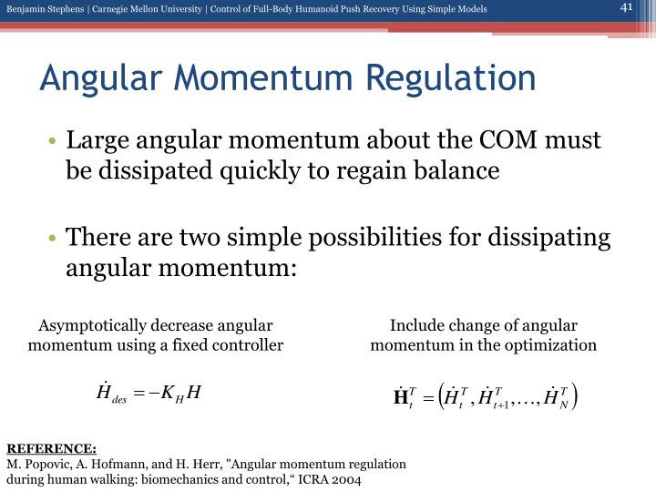 Angular Momentum Regulation