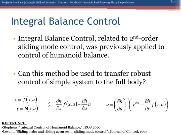 Integral Balance Control