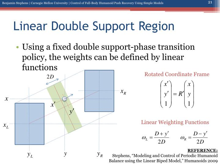 Linear Double Support Region