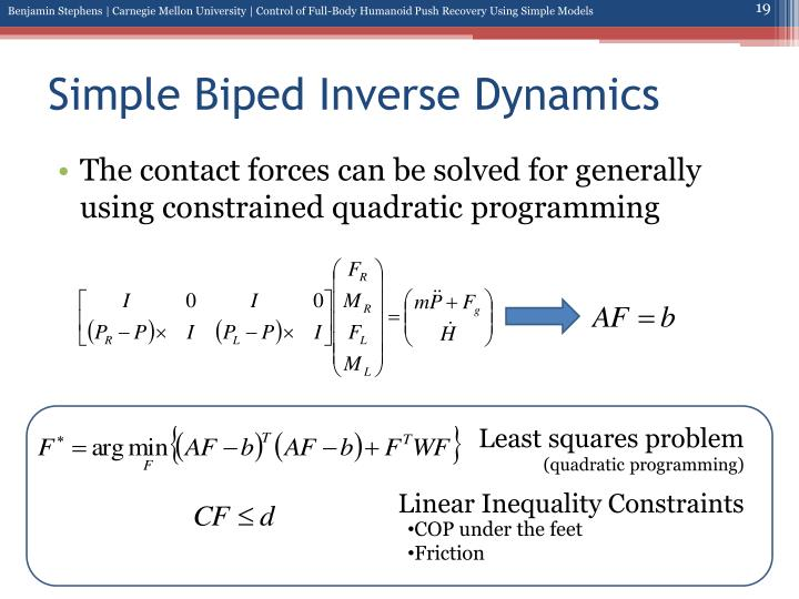 Simple Biped Inverse Dynamics