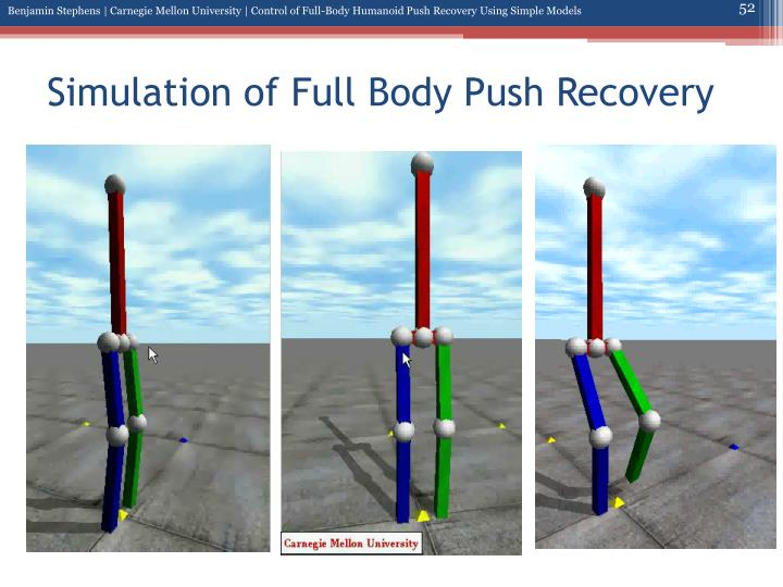 Simulation of Full Body Push Recovery