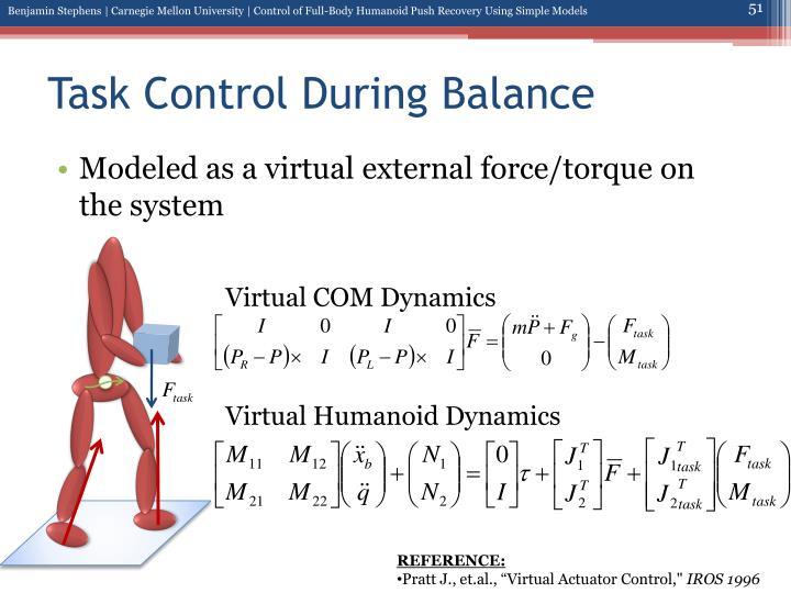 Task Control During Balance