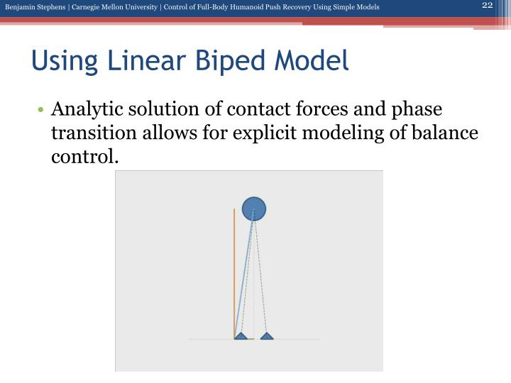 Using Linear Biped Model