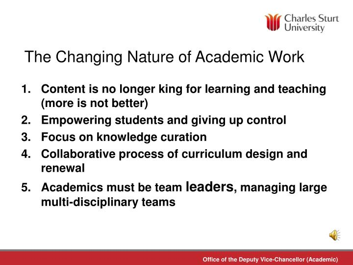 The Changing Nature of Academic Work