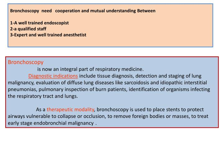 Bronchoscopy  need   cooperation and mutual understanding Between