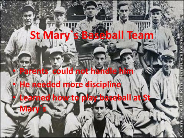 St Mary`s Baseball Team