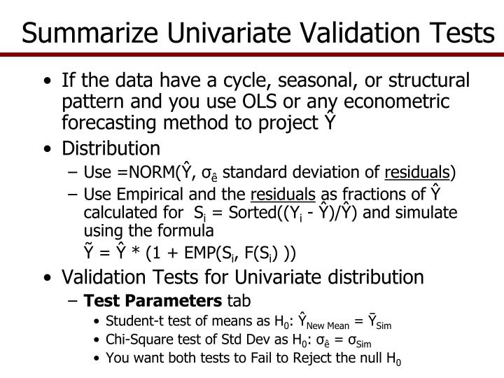 Summarize Univariate Validation Tests