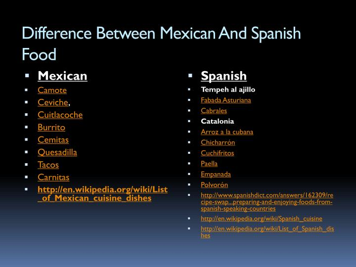 similarities and differences between spanish and mexican cuisine Is there a major difference between spanish and mexican similarities between mexican and spanish cultures what are the differences between spanish and mexican food.
