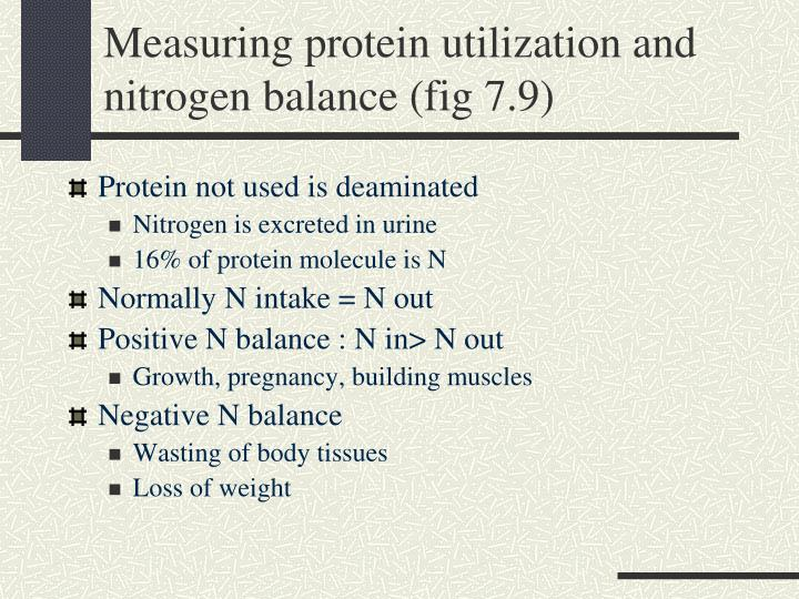 Measuring protein utilization and nitrogen balance (fig 7.9)