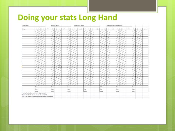 Doing your stats Long Hand