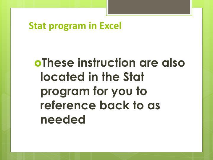 Stat program in Excel