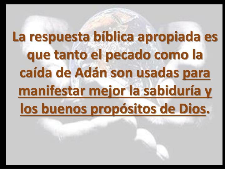 La respuesta bíblica apropiada es que tanto el pecado como la caída de Adán son usadas