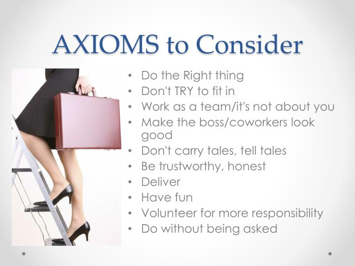 AXIOMS to Consider