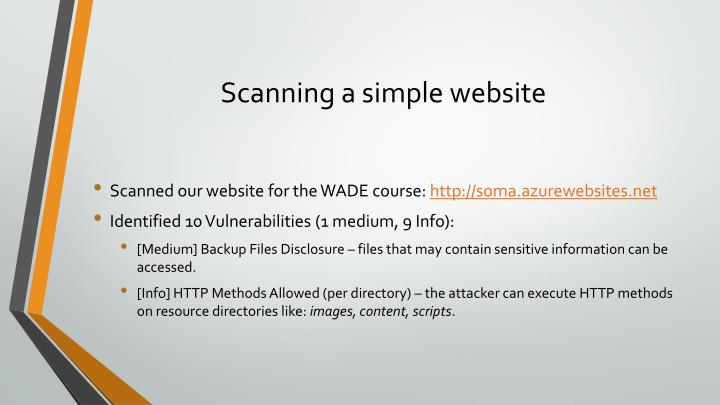 Scanning a simple website