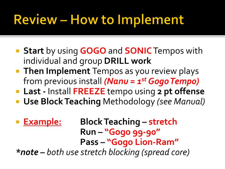 Review – How to Implement