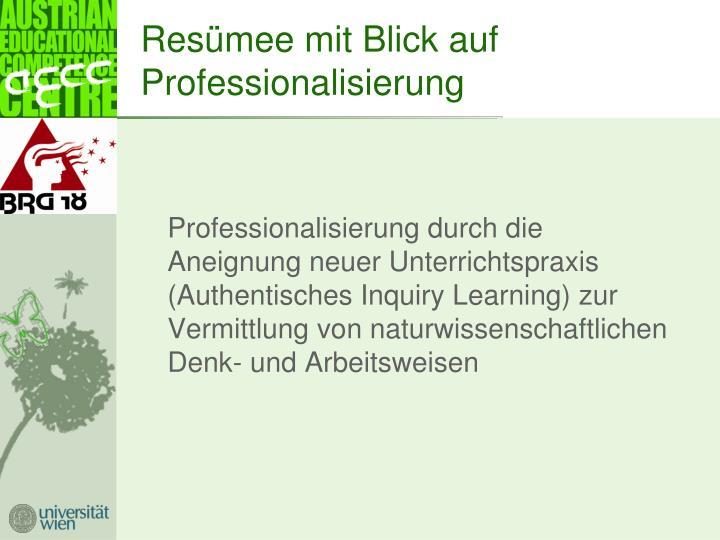 Resümee mit Blick auf Professionalisierung