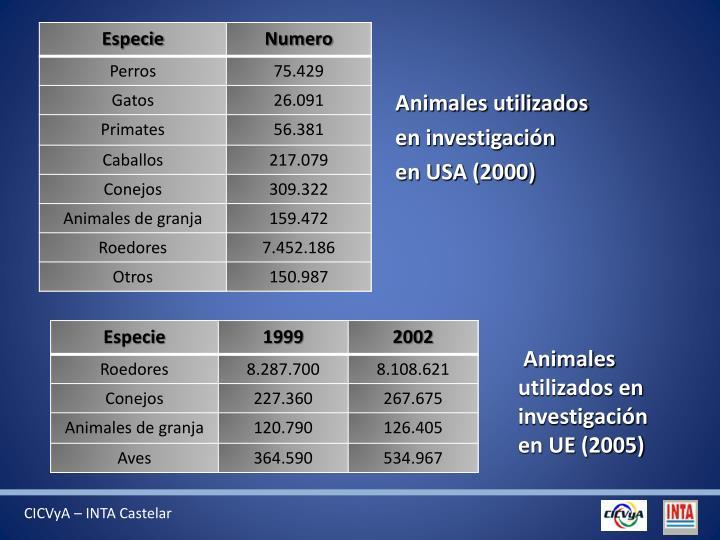 Animales utilizados