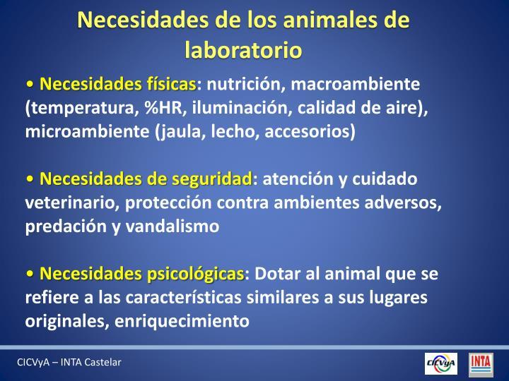 Necesidades de los animales de laboratorio
