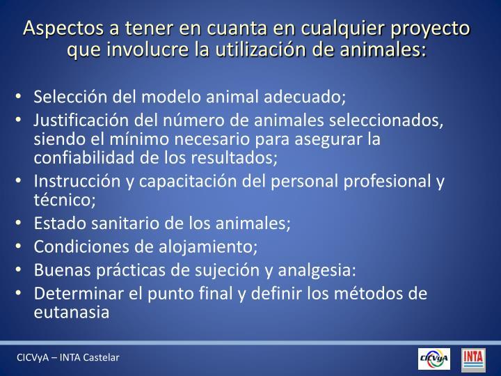 Aspectos a tener en cuanta en cualquier proyecto que involucre la utilización de animales: