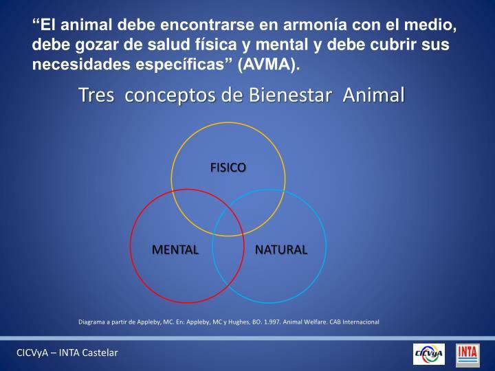 """""""El animal debe encontrarse en armonía con el medio, debe gozar de salud física y mental y debe cubrir sus necesidades específicas"""" (AVMA)."""