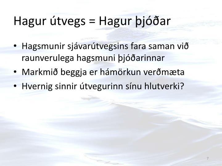 Hagur útvegs = Hagur þjóðar