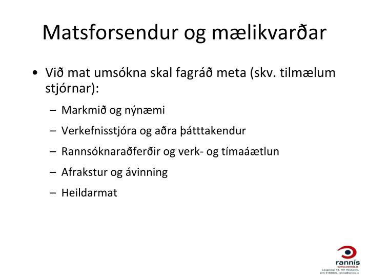 Matsforsendur og mælikvarðar