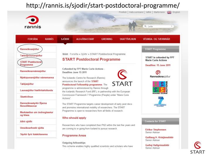 http://rannis.is/sjodir/start-postdoctoral-programme/