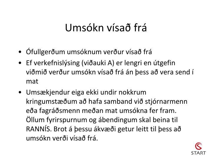 Umsókn vísað frá