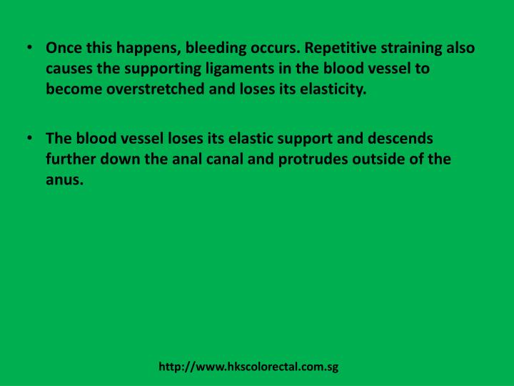 Once this happens, bleeding occurs. Repetitive straining also causes the supporting ligaments in the blood vessel to become overstretched and loses its elasticity