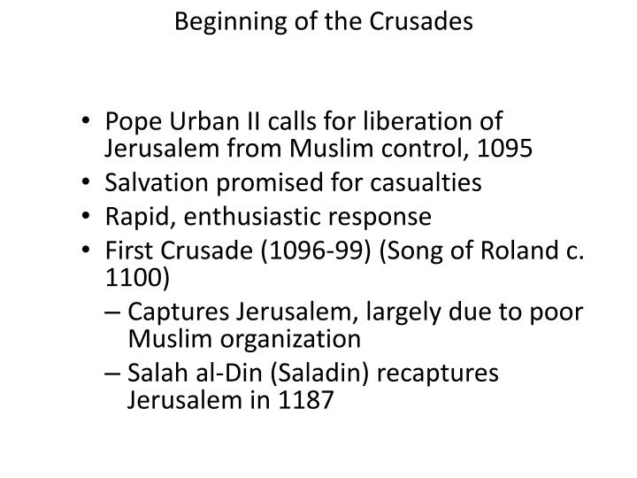 Beginning of the Crusades