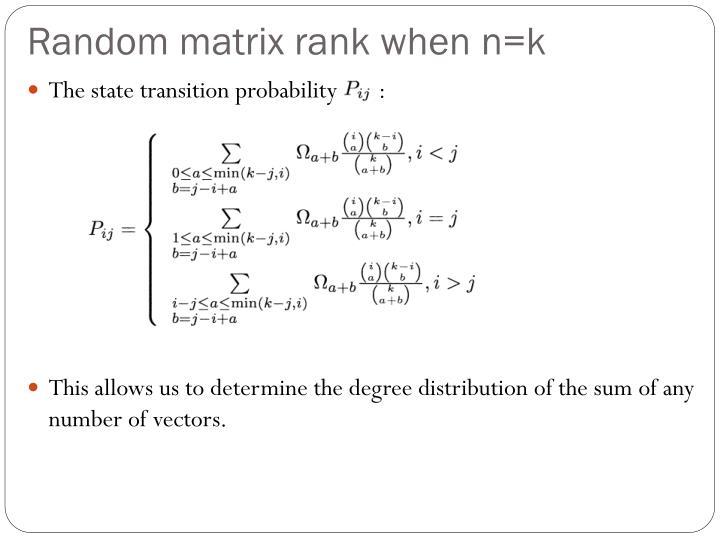 Random matrix rank when n=k