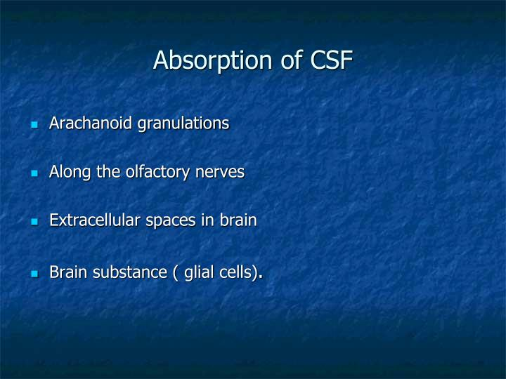 Absorption of CSF