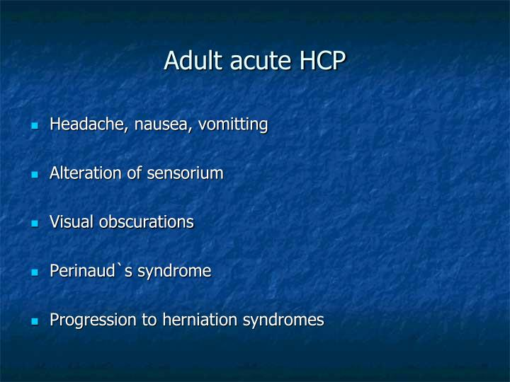 Adult acute HCP
