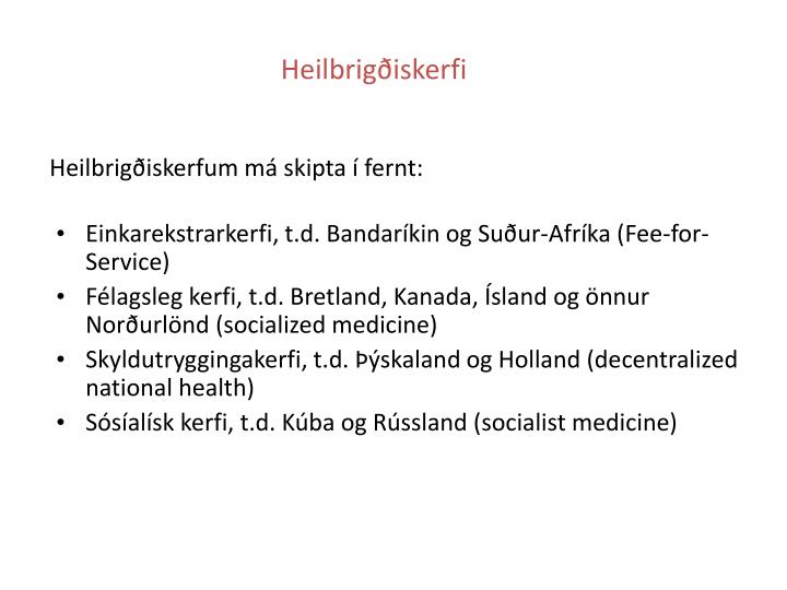 Heilbrigðiskerfi