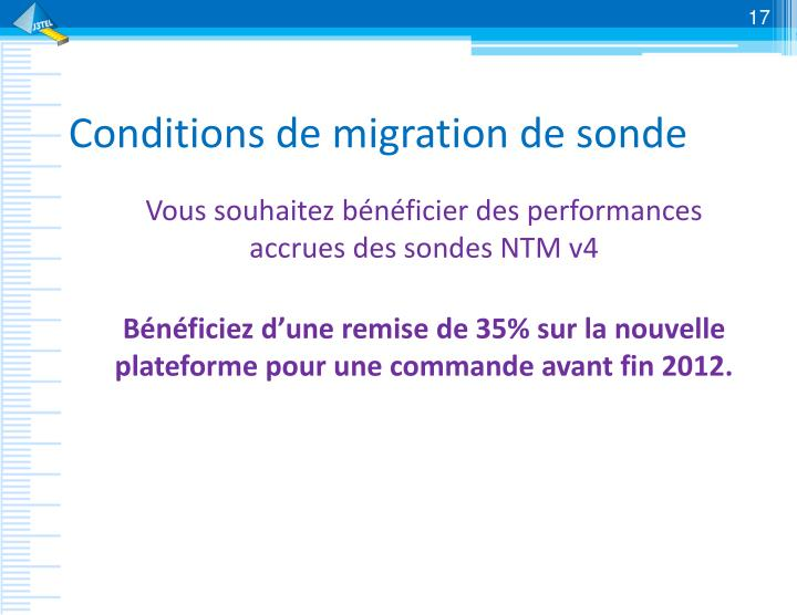 Conditions de migration de sonde