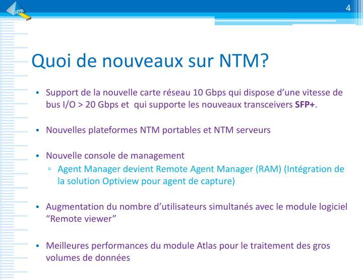 Quoi de nouveaux sur NTM?