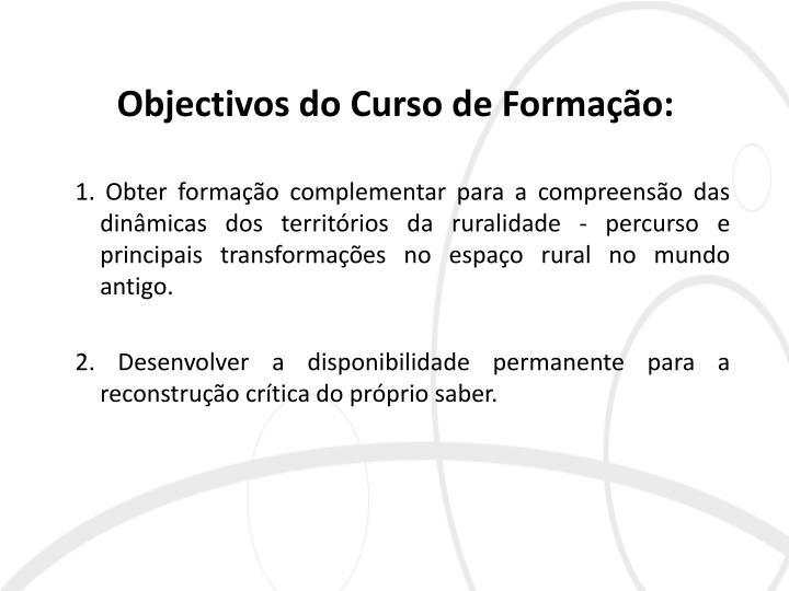 Objectivos do Curso de Formação: