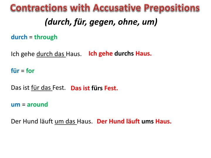 Contractions with Accusative Prepositions